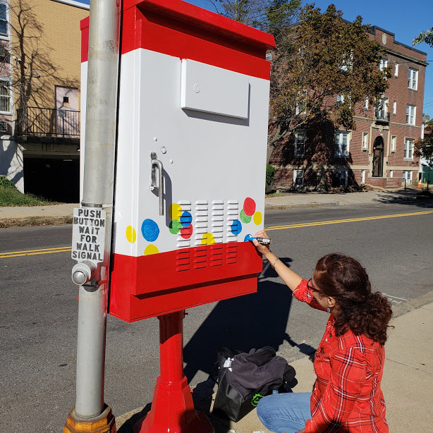 Designer and Artist Grace Julian Murthy Painting Switchbox